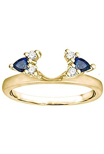 Diamond And Created Sapphire Ring Wrap Enhancer Set In Sterling Silver 0 52 Ct Twt Sapphire Solitaire Enhancer Wedding Band Sapphire Jewelry