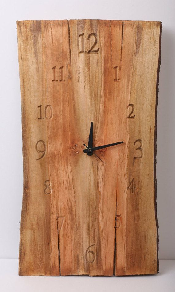 Weathered, Shabby, Natural Wooden slab wall clock with live bark edge and carved numbers. by TimberlakeDesign on Etsy #reclaimedwoodwallart