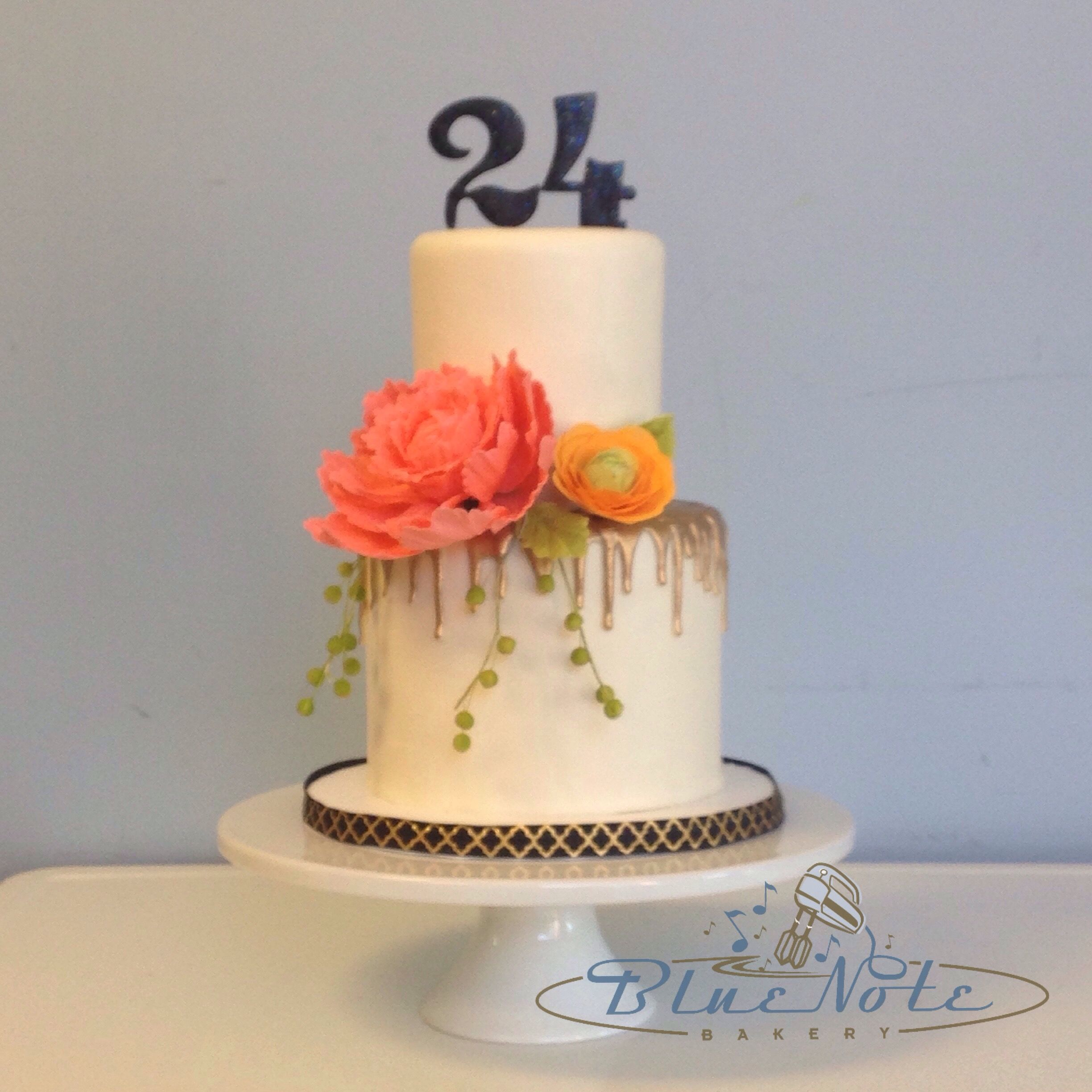 Stupendous Coral Sugar Flowers For A 24Th Birthday 24Th Birthday Cake Funny Birthday Cards Online Kookostrdamsfinfo