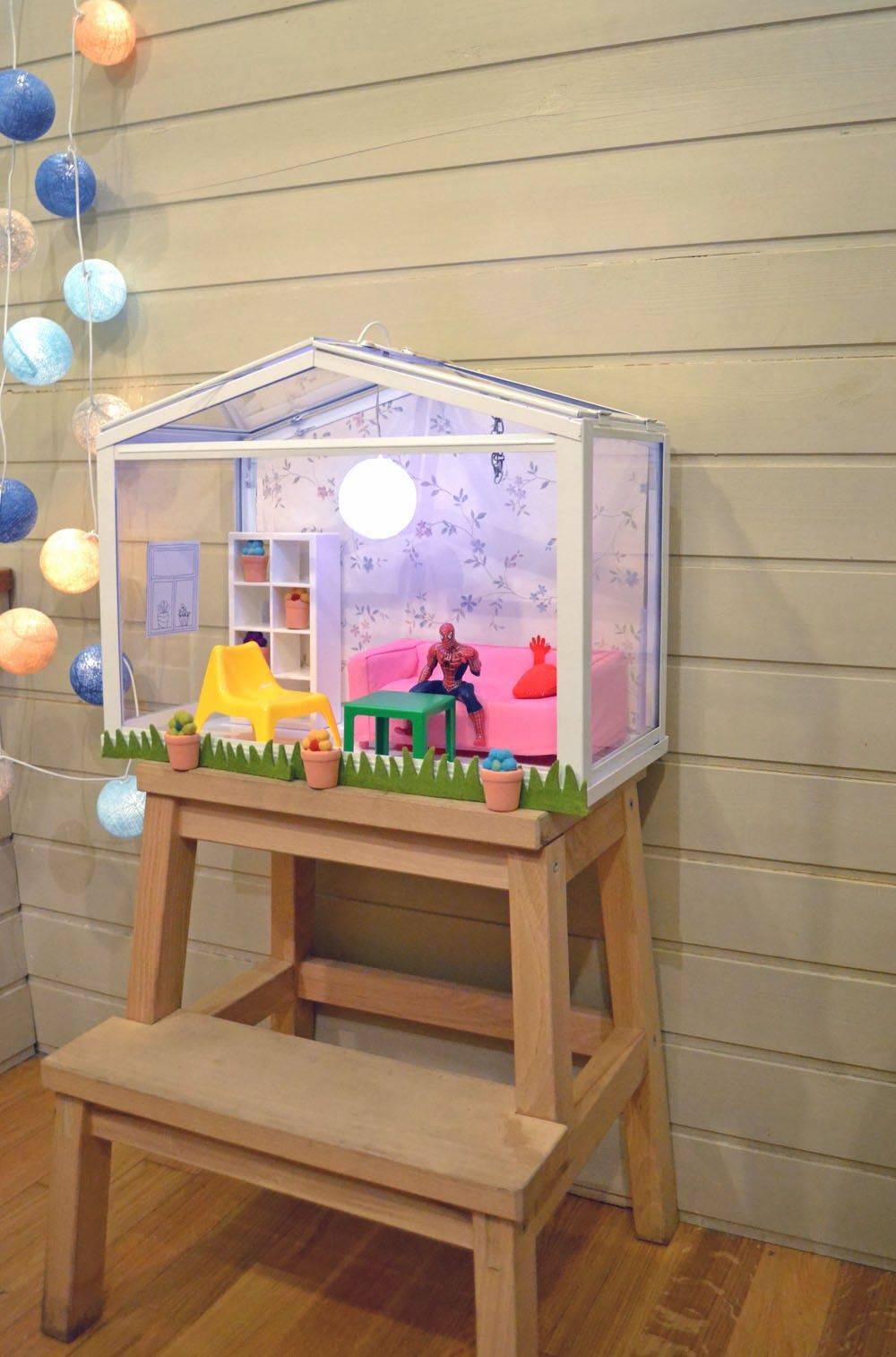 Ikea Socker greenhouse turned into a dollhouse. mommo design: IKEA HACKS