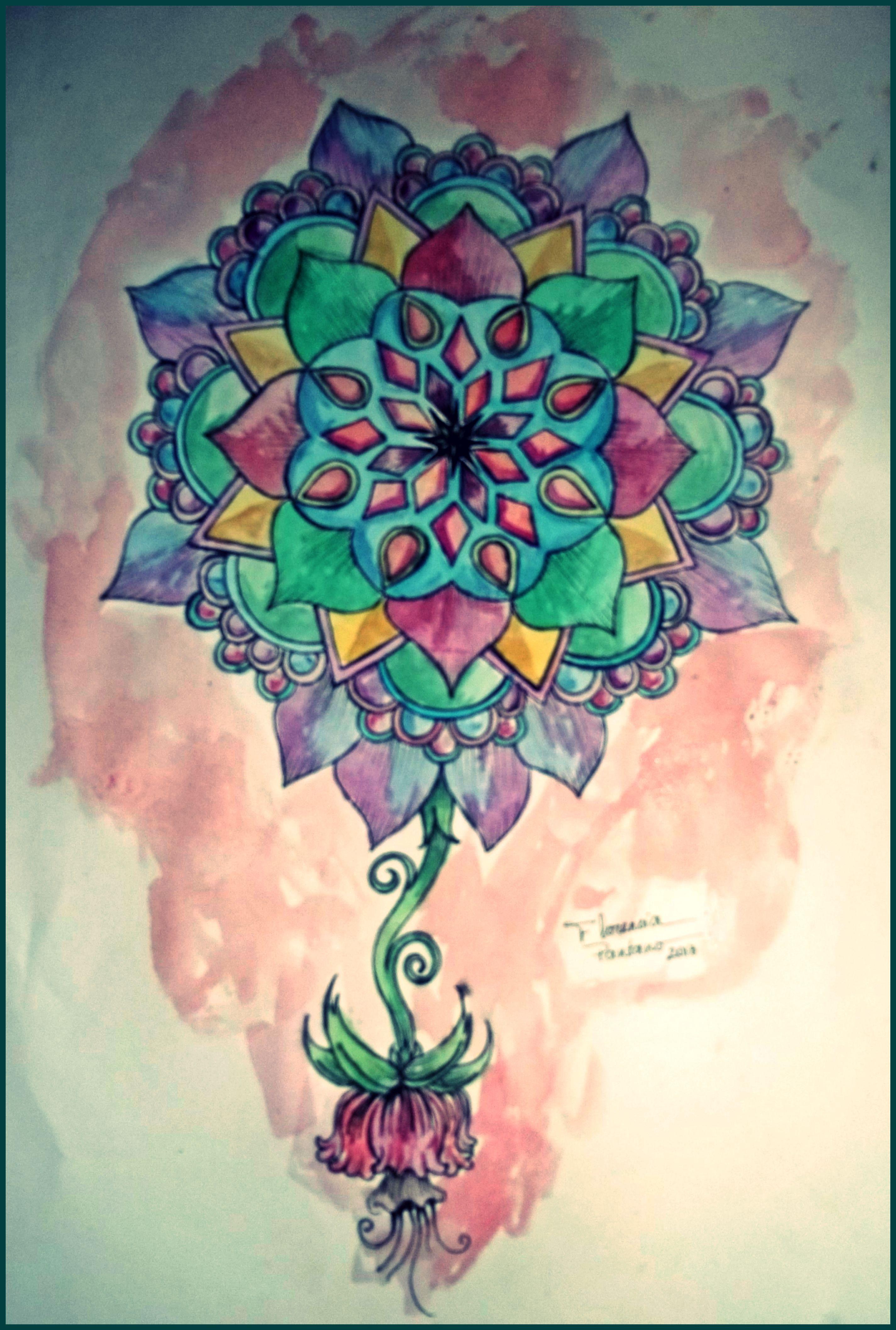 Watercolor - Aquarela Mandala para uma tattoo Florencia Pantano