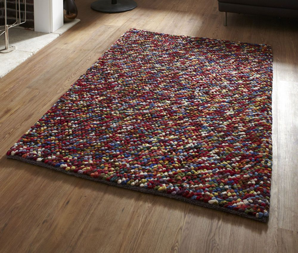 New Pebbles Multi Coloured Contemporary Wool Rug 150 X 230cm 4ft 9 X 7ft 5ft Contemporary Wool Rugs Rugs Vibrant Rugs