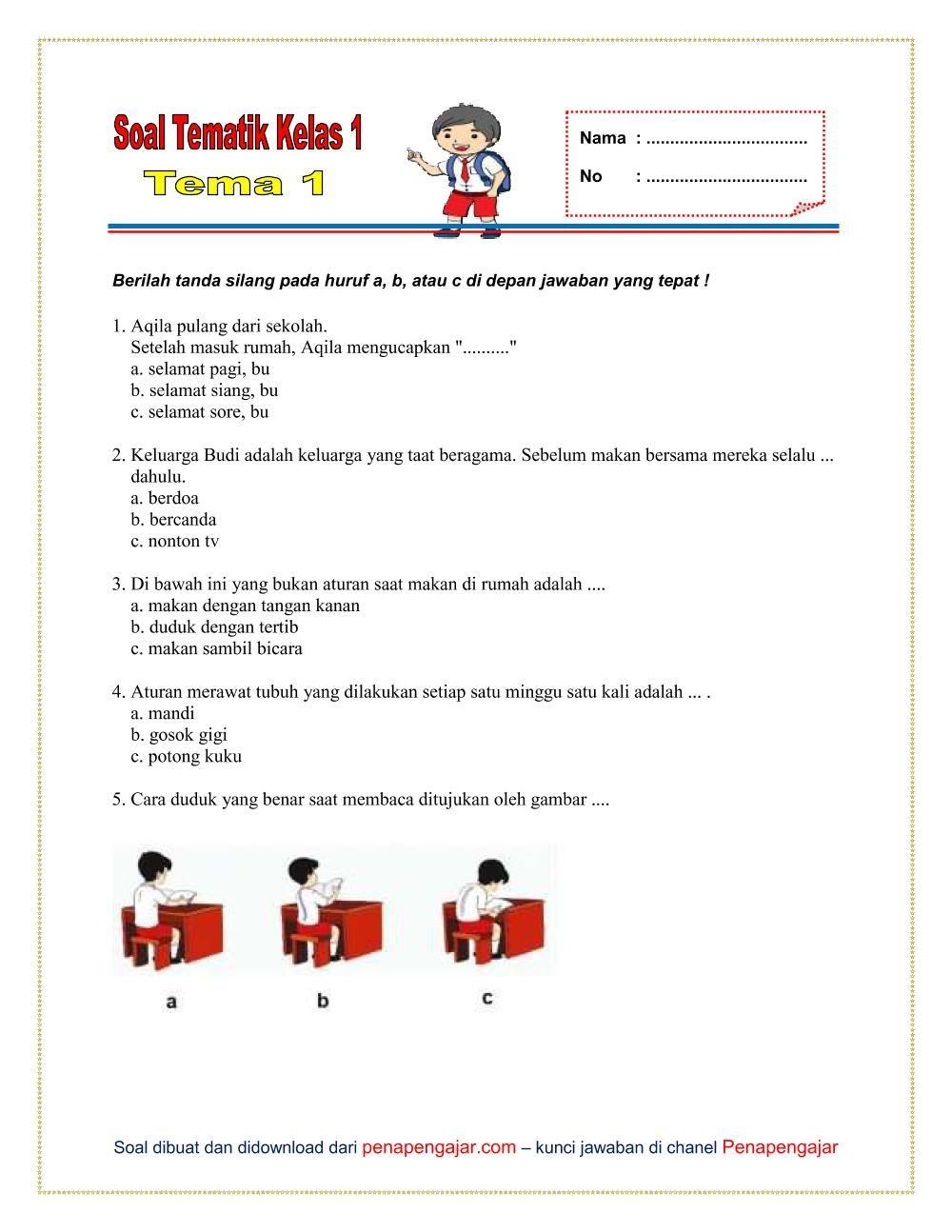 Soal Tema 1 Kelas 1 Semester 1 K 13 Kurikulum Tema Kelas Berkelas