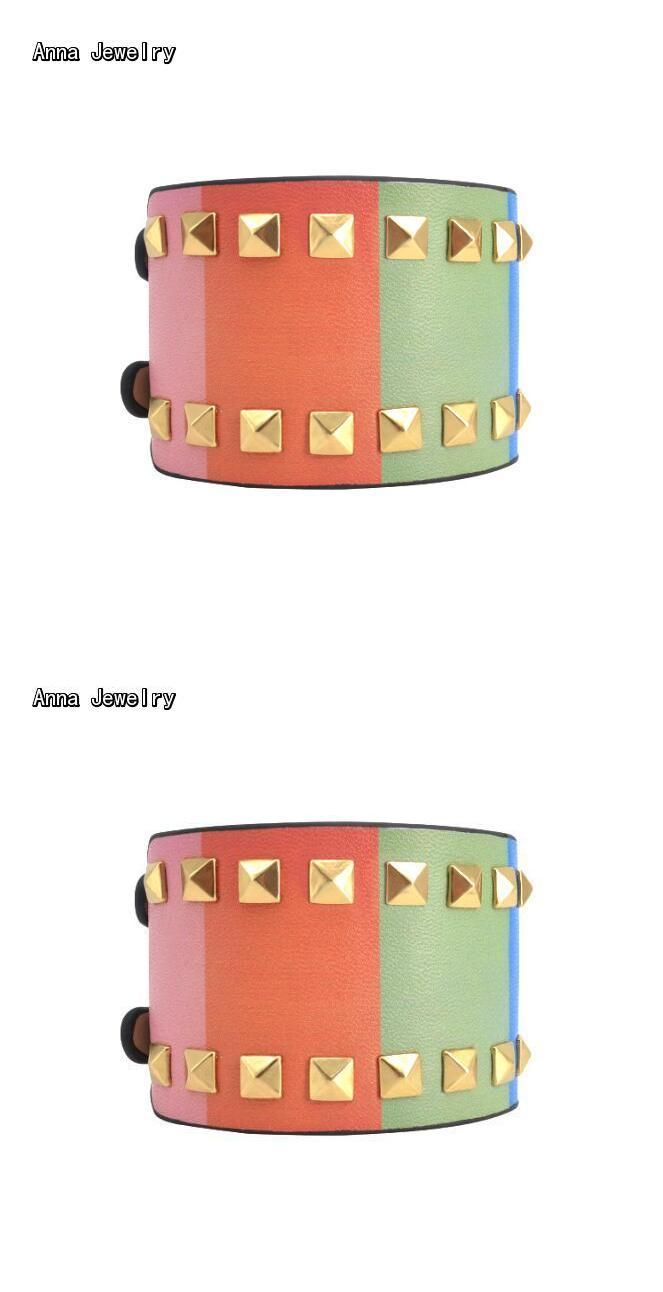 New elegant designer extra wide gold studs braceletcolorful leather