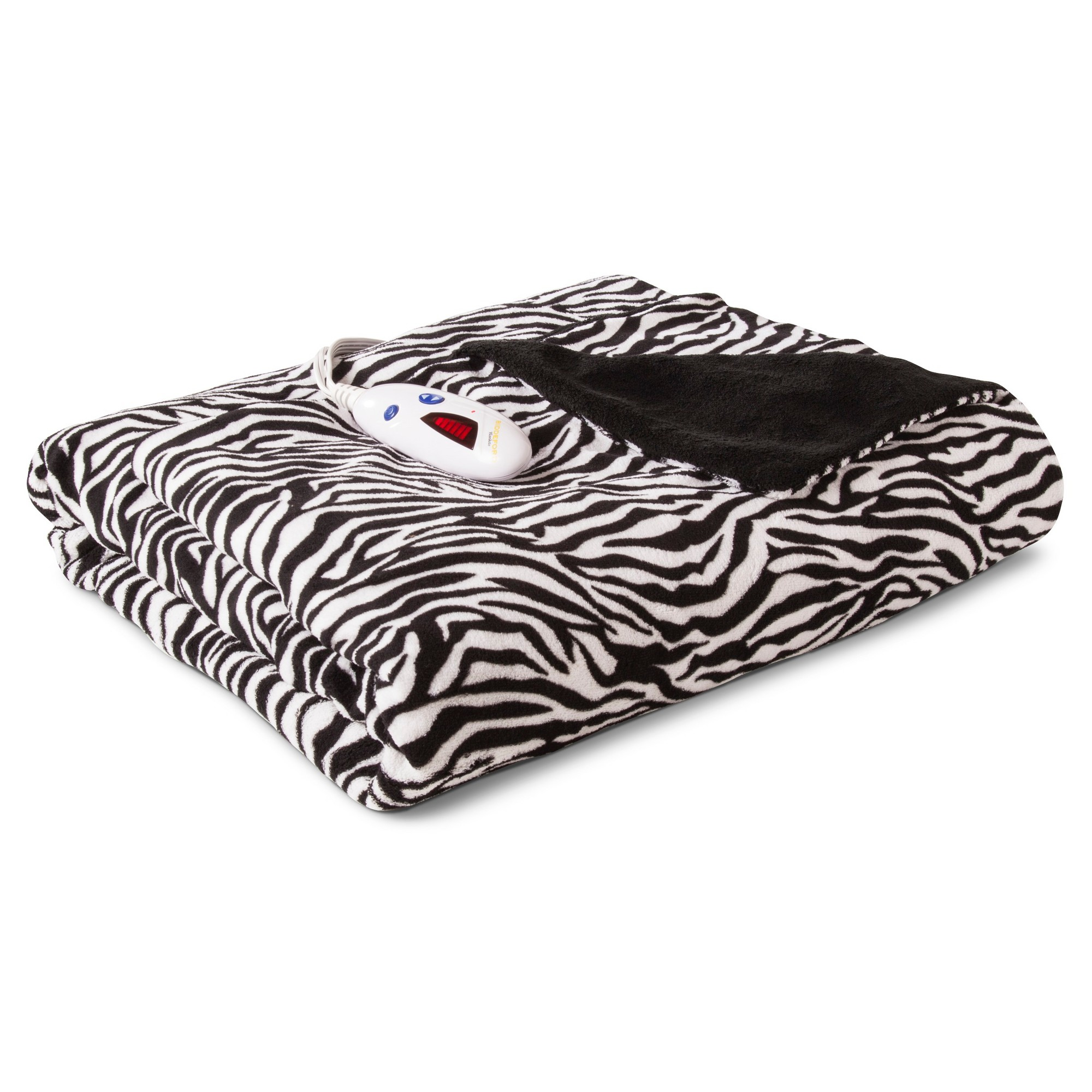 Biddeford Microplush Heated Throw Zebra Products
