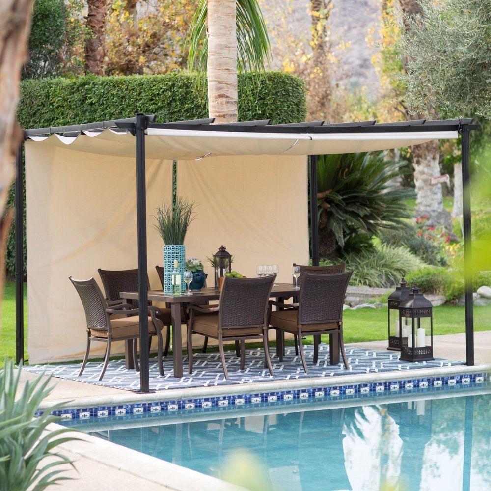 Outdoor Steel Pergola W Retractable Gray Canopy 12x10 Gazebo Patio Garden Yard Belhamliving Outdoor Pergola Patio Canopy Canopy Outdoor