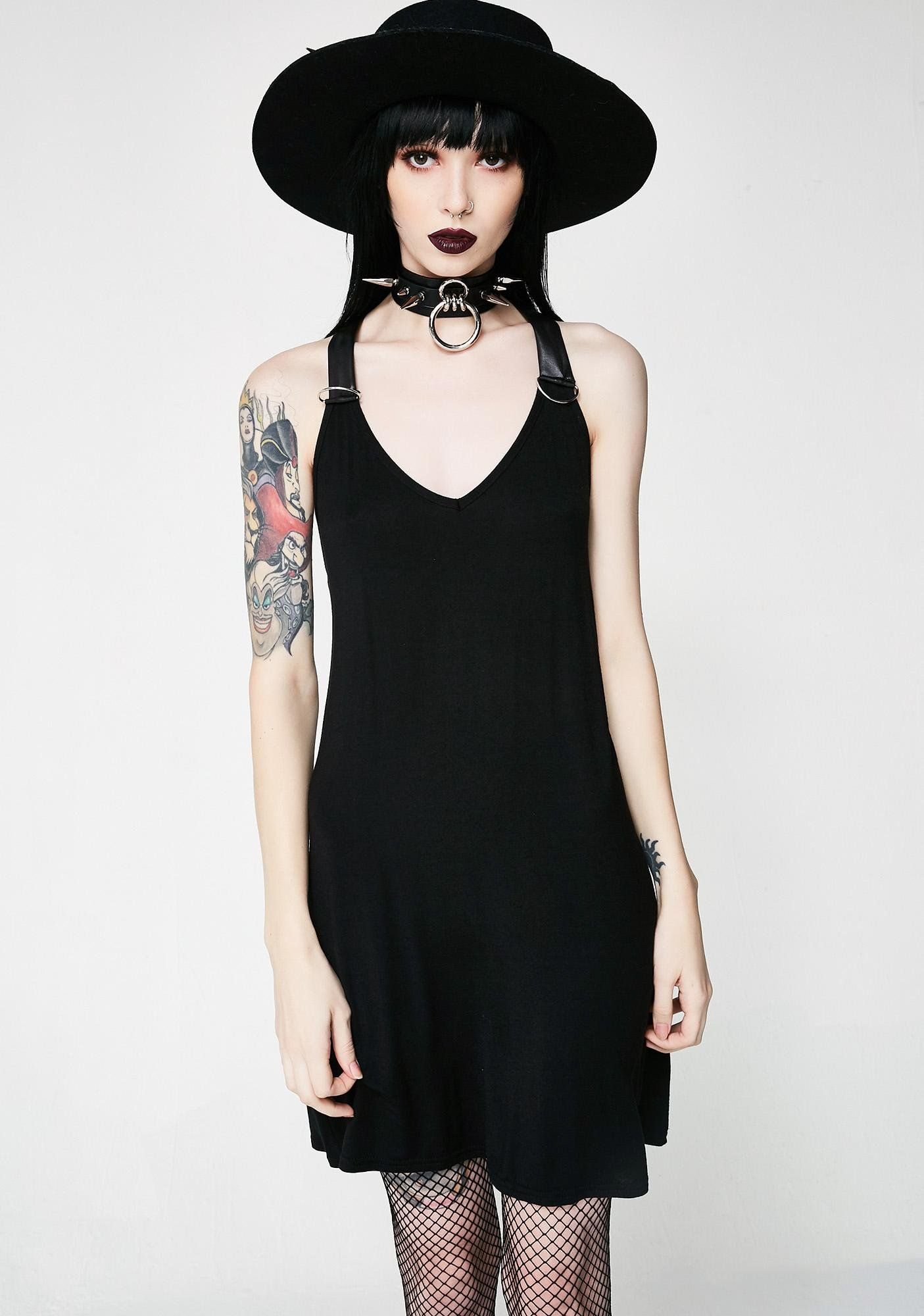 b2654d1d41 Disturbia Harness Dress  cuz you got all the power. This silky slip dress  gives ya room to crush it with a vegan leather strappy back detail and a ...