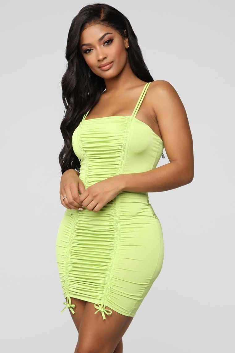 Coming For Your Love Ruched Mini Dress Lime in 2020