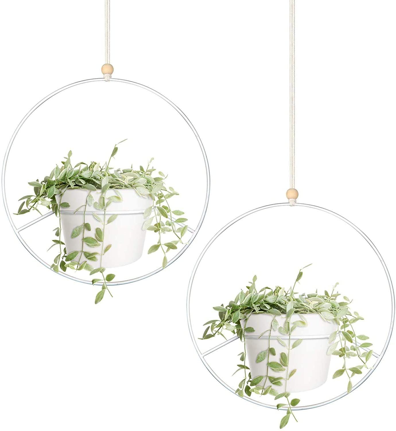 Mkouo Boho Hanging Planter Set Of 2 Round Metal Plant Hanger With Plastic Plant Pot Modern Wall And Ceiling Planter Mid Century Flower Pot Holder Fits 15cm P In 2020