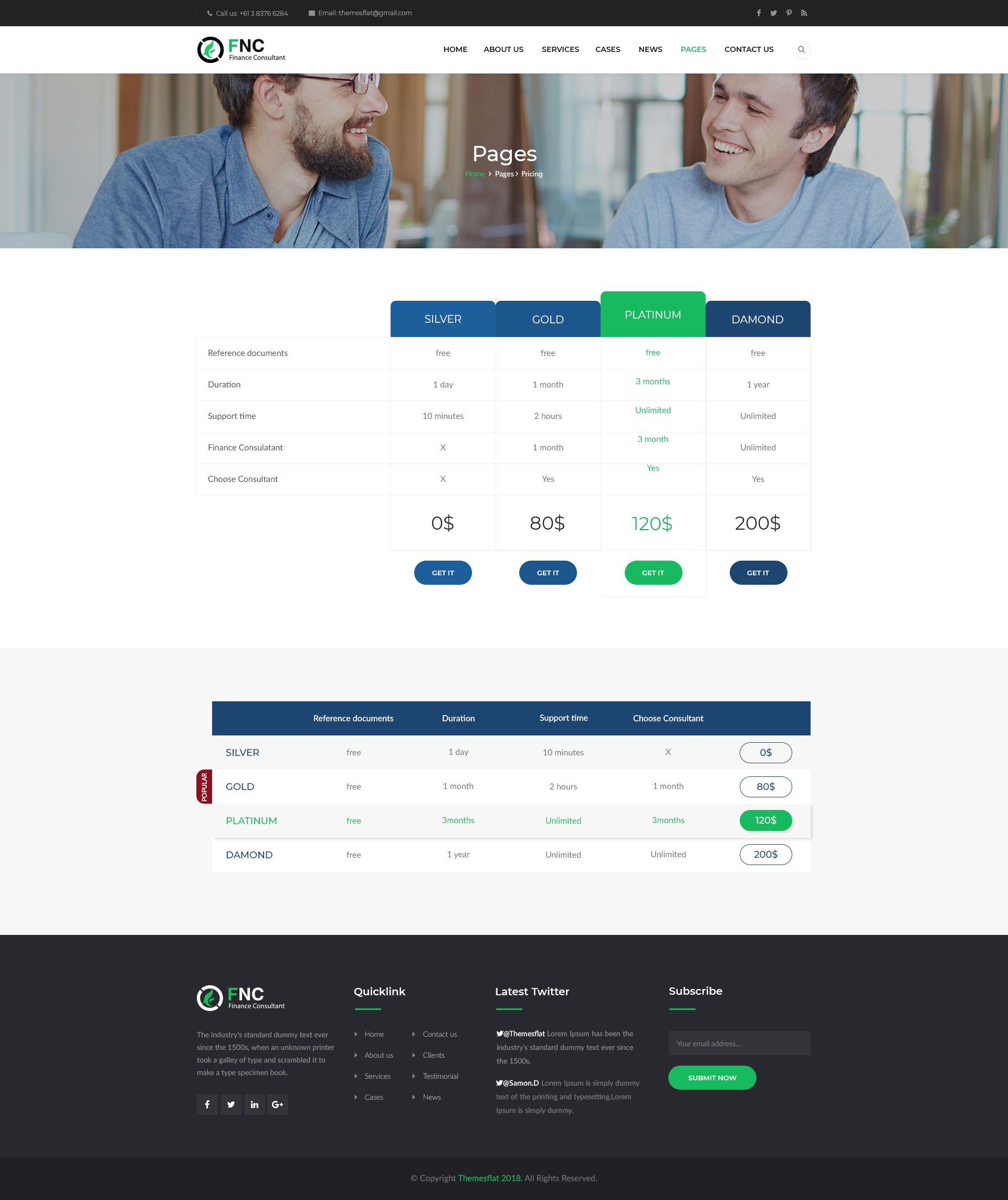 FNC Finance & Consulting, Accounting PSD Template Psd