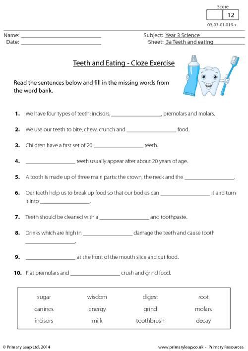 Primaryleap Co Uk Teeth And Eating Cloze Exercise Worksheet