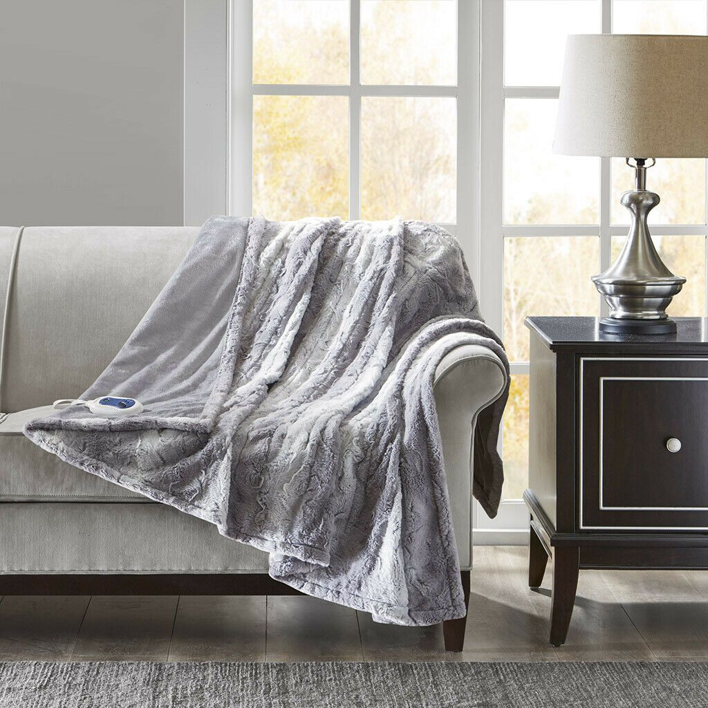 New Heated Silky Soft Faux Grey Chinchilla Fur Sofa Blanket Throw