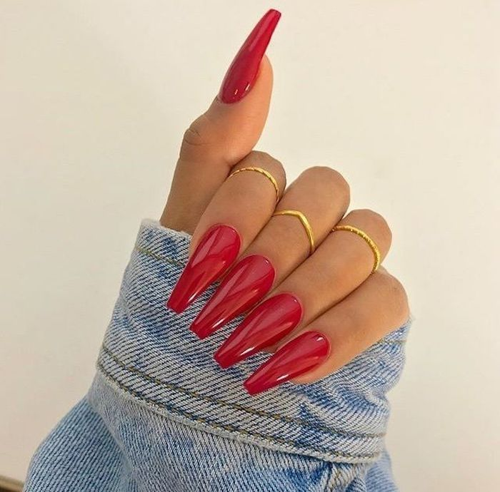 Red Coffin Shape Nails Red Glitter Red Nails Glitter Coffin Shape Nails Red Nails