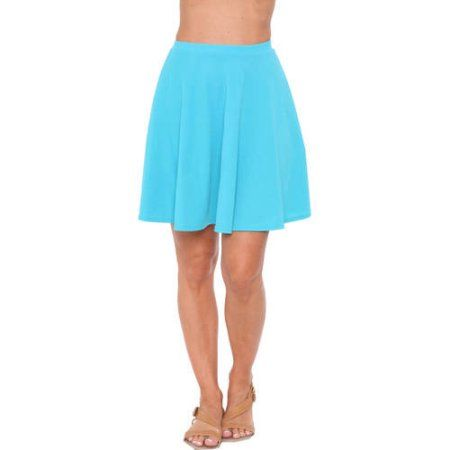 White Mark Women's Solid Color Fit and Flare Skirt, Size: Medium, Blue