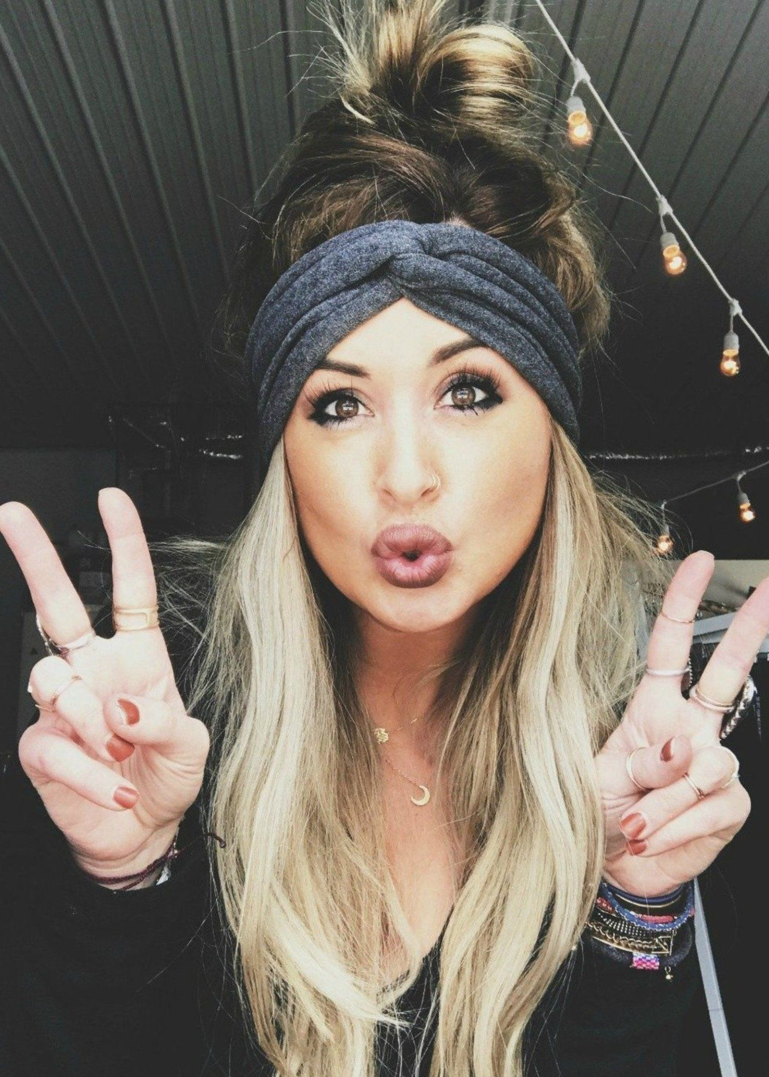 Extra wide headband // twist turban : soot | Headband hairstyles, Wide headband, Hair scarf styles