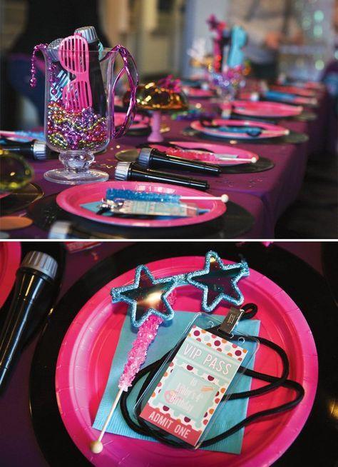 Hot Pink Rockstar Birthday Table Design