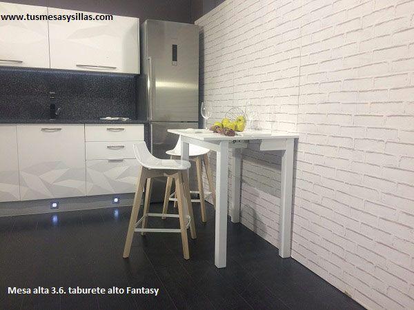 Mesa alta extensible de estilo nordico con cajon para cocinas ...