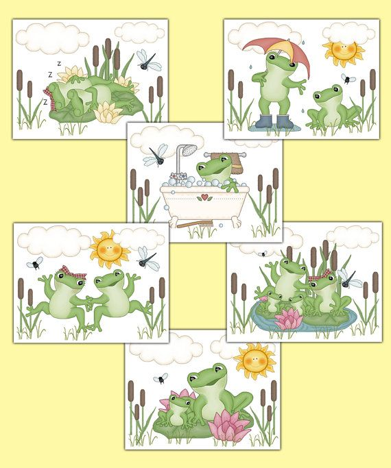 FROG NURSERY PRINTS Wall Art Baby Boy Woodland Forest Animal Pond ...