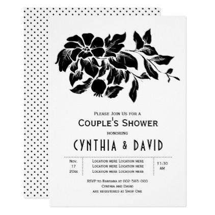 Vintage flowers floral wedding couples shower invitation
