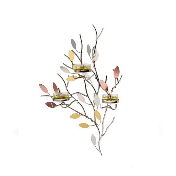 Kimaltelevat lehdet -somistejalusta Kynttiläpurkille