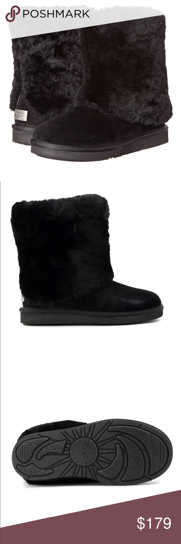 bca53cae5f2 UGG Australia Patten Shearling & Suede Boots Black NEW WOMEN UGG ...