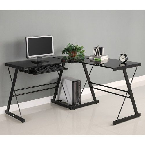 Glass And Metal Corner Computer Desk Multiple Colors Founde