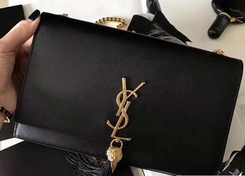36dbb6e01c2 2018 Saint Laurent Classic Medium Kate Monogram Tassel Satchel Chain  Shoulder Bag 471642 Black