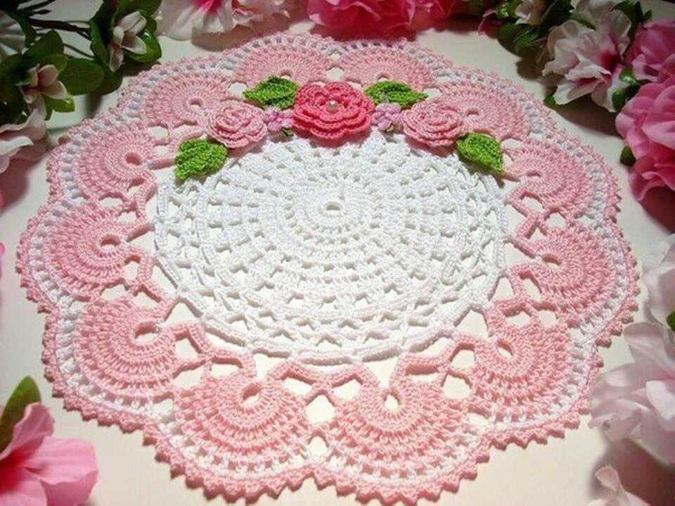 crochet doily with roses for a shabby chic home