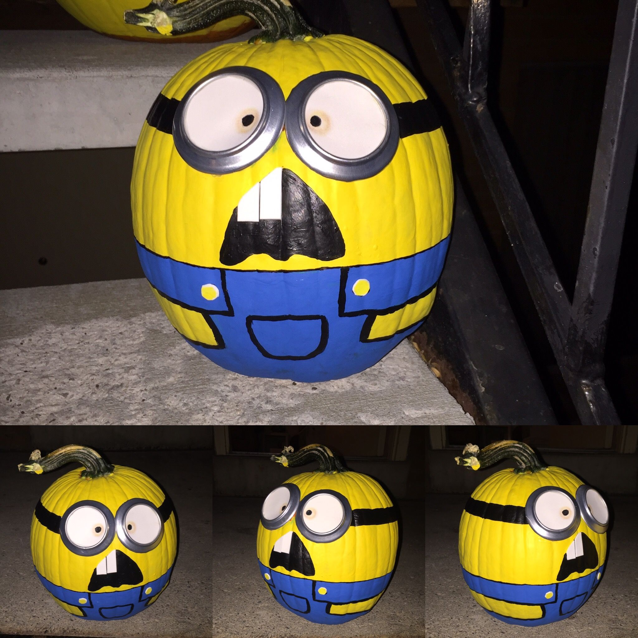 My Minion Pumpkin Painted Overall Yellow First Marked Out Detail With Sharpie Pen And Painted Blue Overall And B With Images Painted Pumpkins Minion Pumpkin Sharpie Pens
