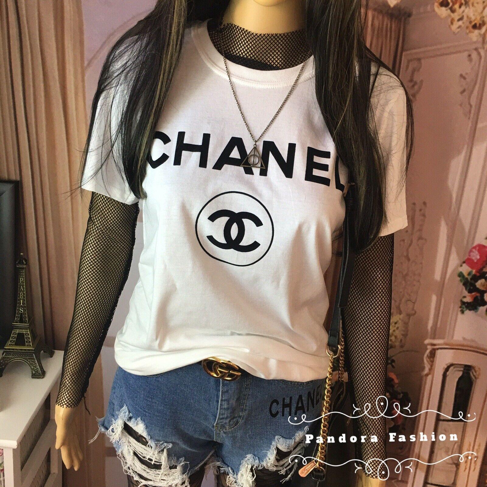 White Tshirt CC Paris n5 logo graphic100 cotton Shirts