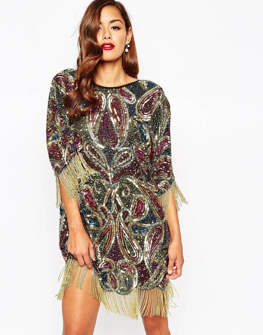 Image 1 of ASOS RED CARPET Embellished Fringed T-Shirt Dress | My ...