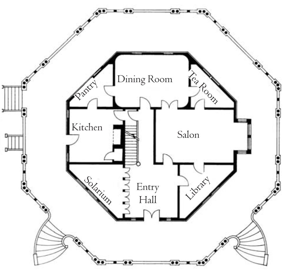 First floor plan the armour stiner octagon house irvington on hudson new york