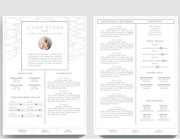creativemarket/FortunelleResumes Resume Pinterest