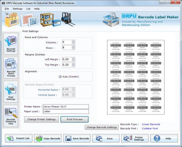 Software to create industrial barcodes is specially