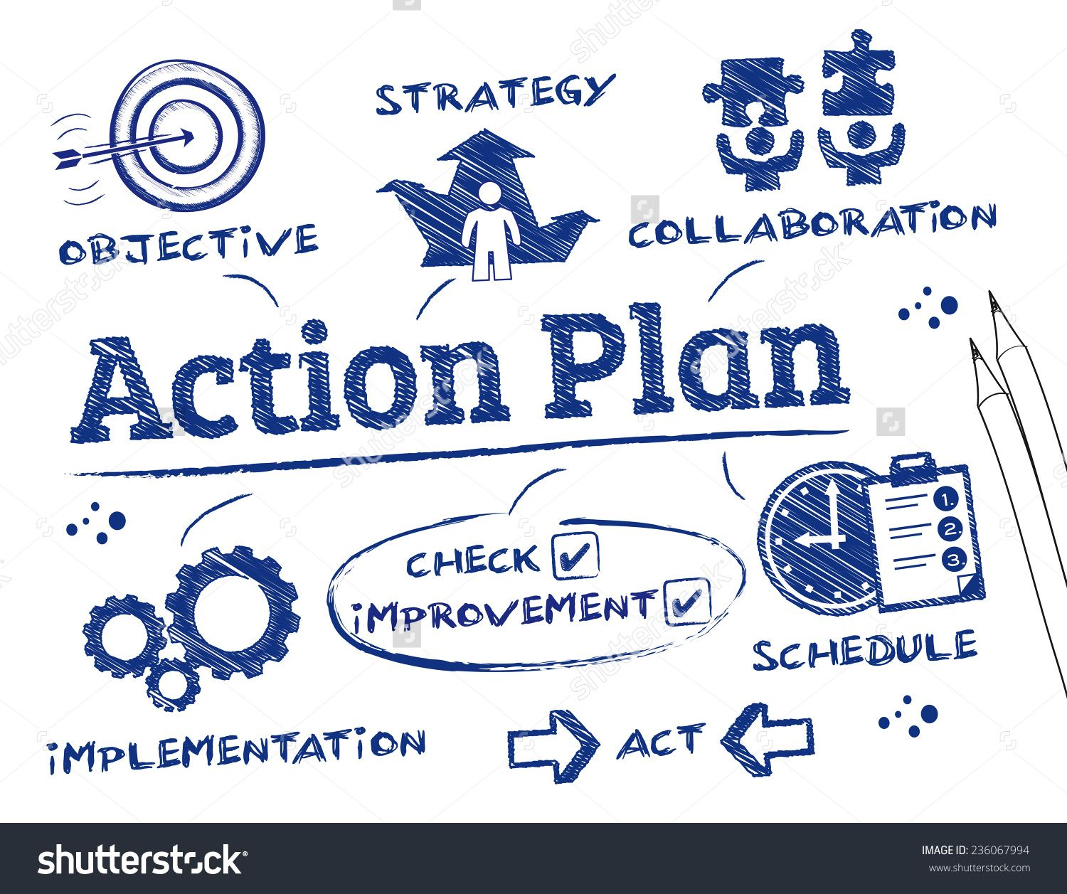 Action Plan Chart With Keywords And Icons