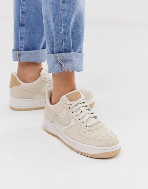 Nike Air Force 1'07 sneakers in off white suede   ASOS