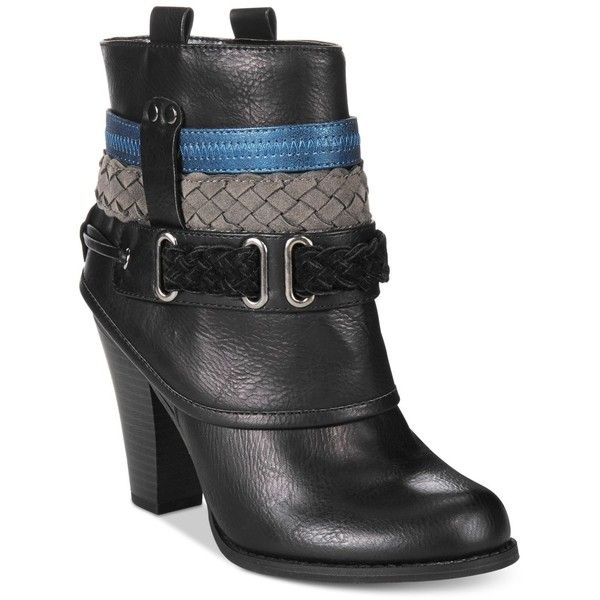 Dolce by Mojo Moxy Brigade Cuffed Western Booties (€71) ❤ liked on Polyvore featuring shoes, boots, ankle booties, black, cuff boots, western boots, cowboy booties, western booties and cowboy boots