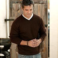 Men's Alpaca Blend V Neck Sweater from Peru, 'Brown Favorite ...