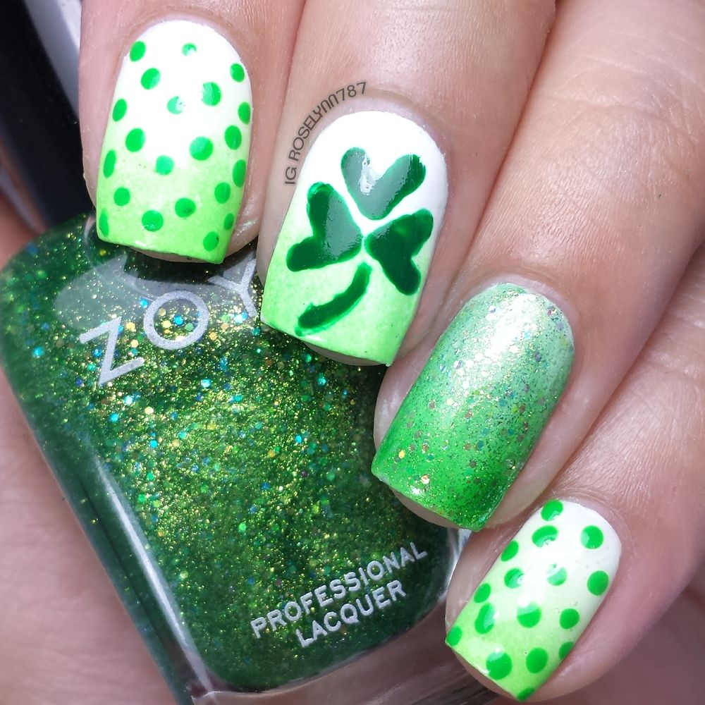 How to: St. Patrick Clover & Dots | Nail Art | Pinterest