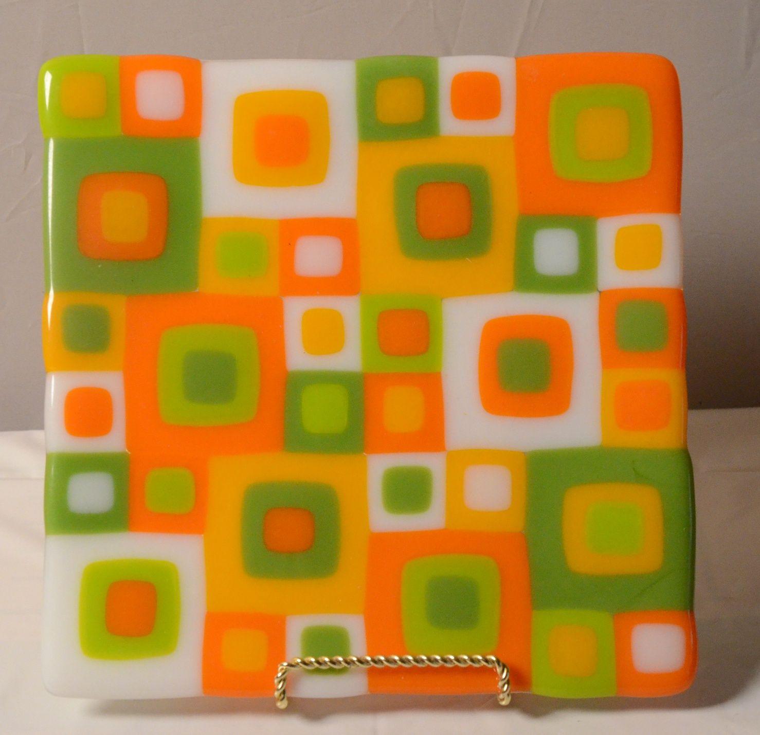 Original Fused Glass Art by Cathy Thompson. Retro Orange square ...