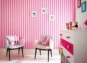 Kinderzimmer Tapete Mädchen Streifen pink weiss Harlequin online ...