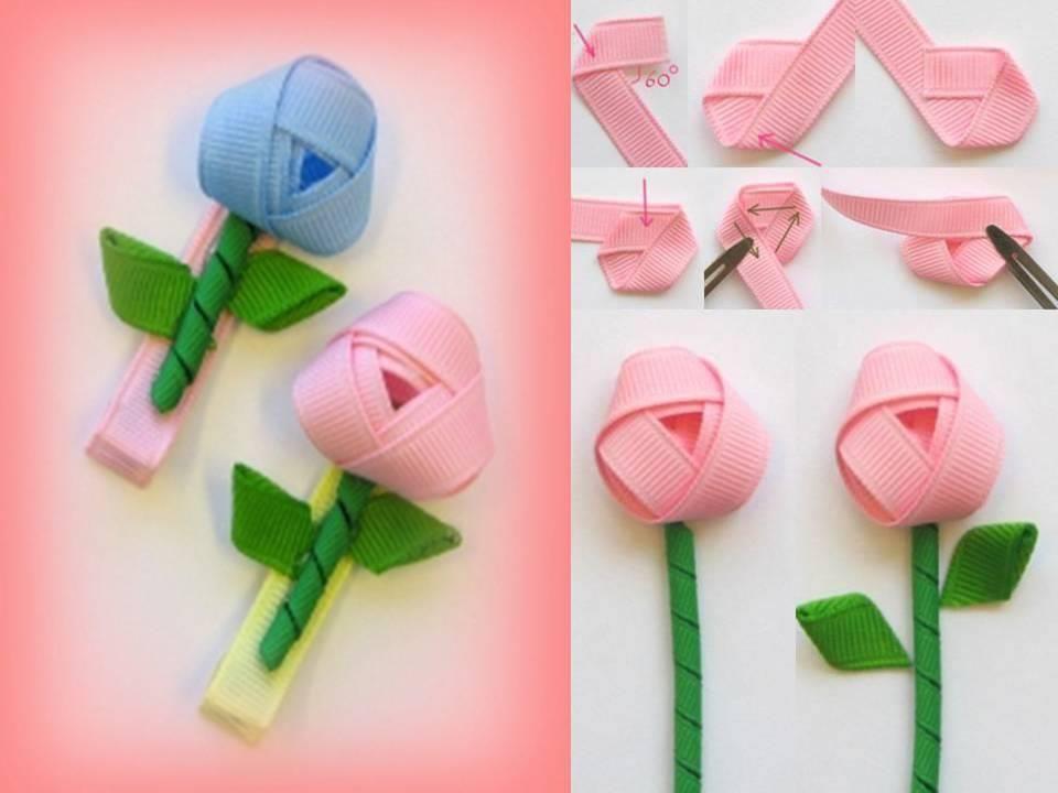 DIY Rosebud Ribbon Hairclip | Kwiaty | Pinterest | Hair