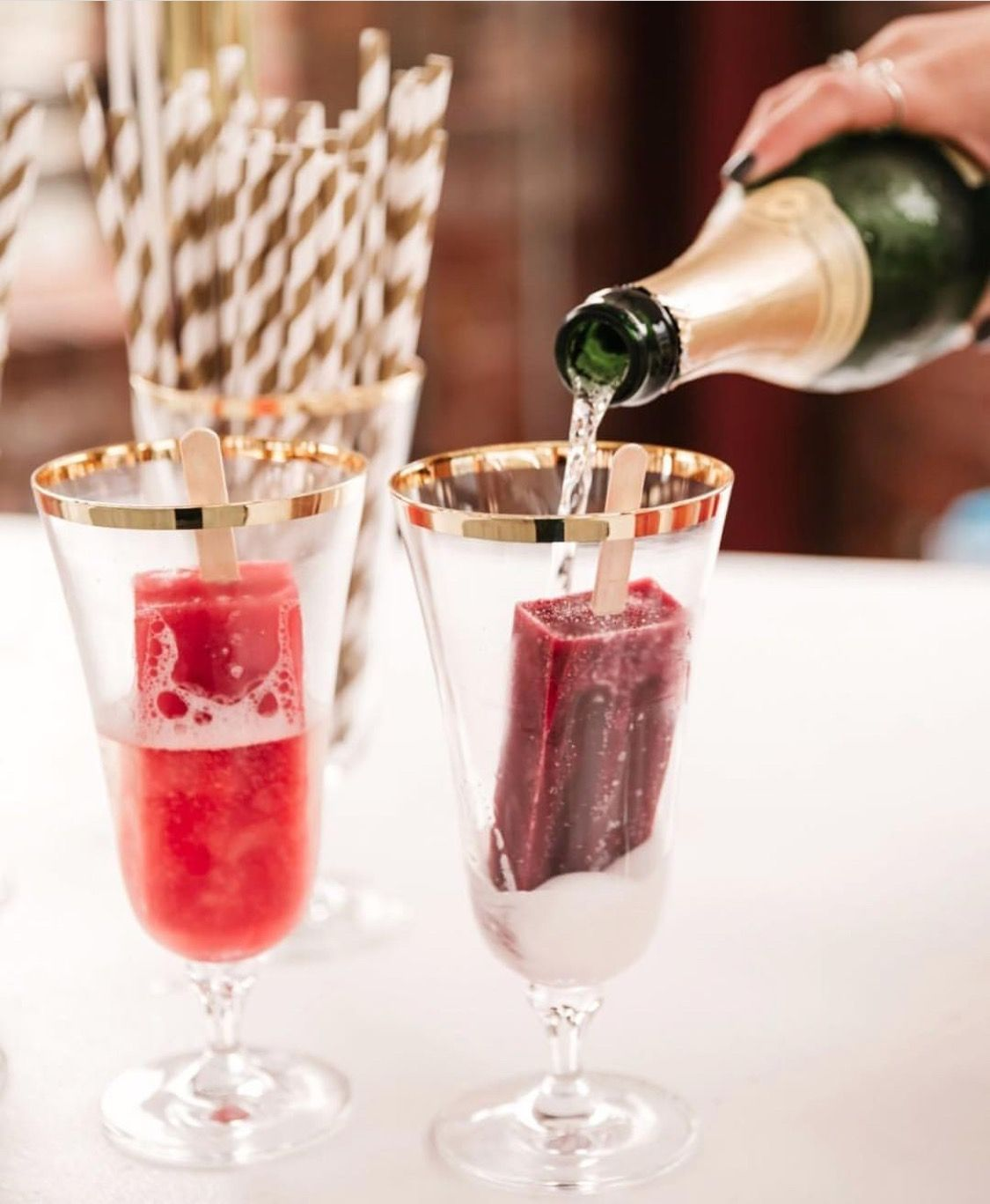 Is there any combo more fun than champagne +popsicles?? IF you think of one, let us know because we can't! #champagnepopsicles Is there any combo more fun than champagne +popsicles?? IF you think of one, let us know because we can't! #champagnepopsicles