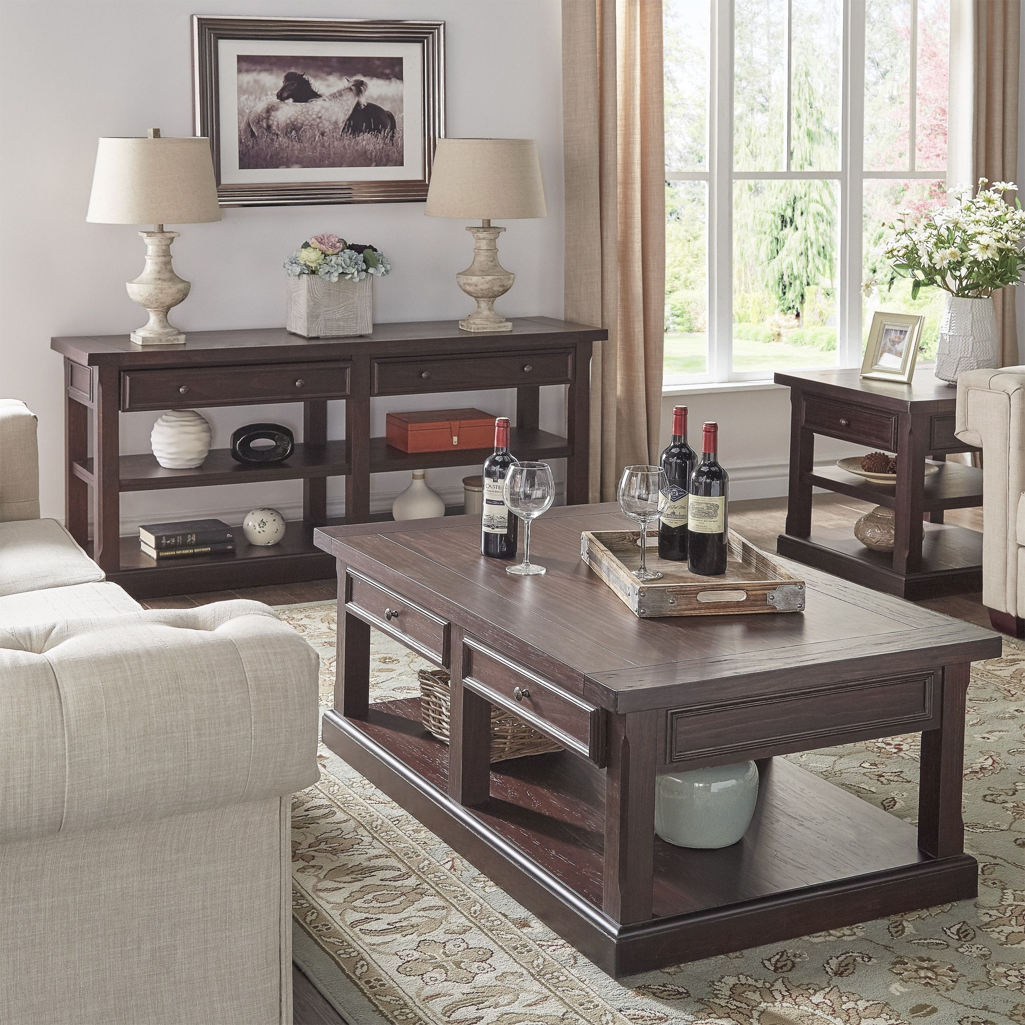 Jenson Espresso Wood Accent Tables by Tribecca Home Coffee End