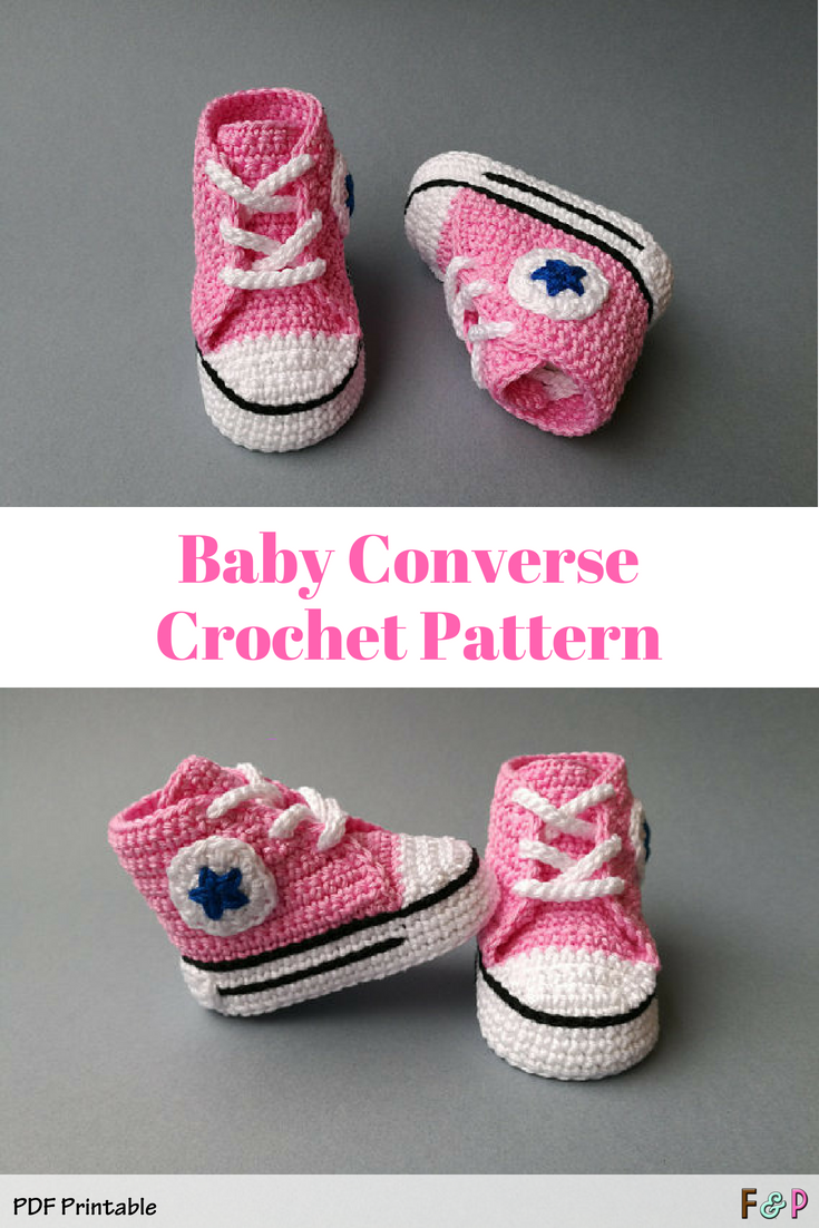 592bc54831ef I loooove these crochet converse high tops!! So cute! What a great baby  gift they d make!  ad  crochet  converse  babyshoes  printablepattern   handmade ...