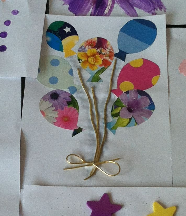 Balloon birthday card, crafts for kids