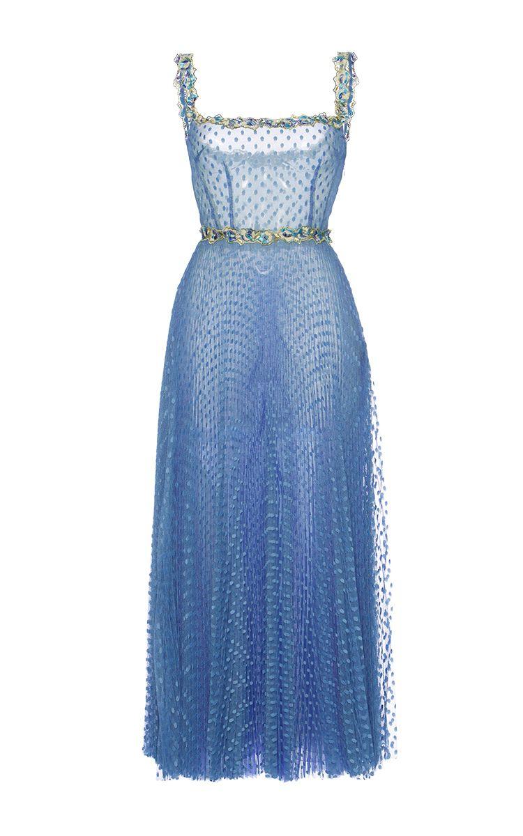 Tulle Pois Plisse Midi Ballerina Dress by LUISA BECCARIA   Blue ...