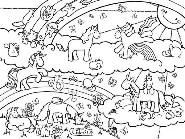 A Drawing Of Unicorns On Its Fantasy World Coloring Page Jpg 600