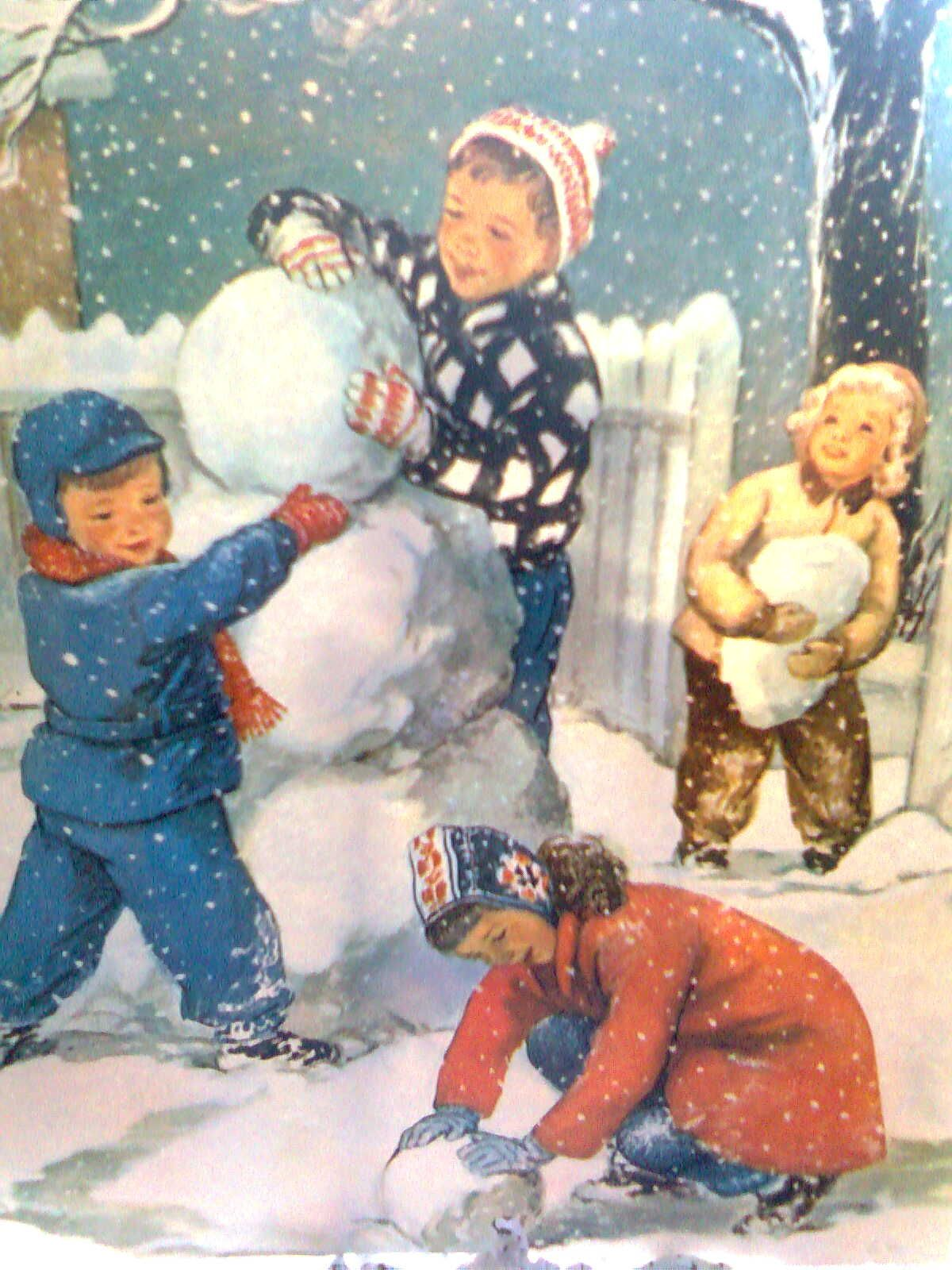 old print of yesteryear snow play. love it.