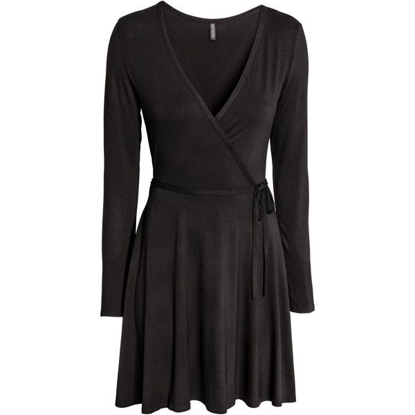 Wrap dress $24.99 ($25) ❤ liked on Polyvore featuring dresses, wrap tie dress, embellished dress, longsleeve dress, v neck dress and h&m dresses